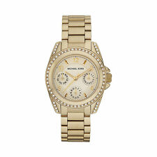 NEWMICHAEL KORS MK5639 MINI BLAIR GOLD TONE W/ CRYSTALS LADIES CHRONOGRAPH WATCH