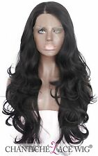 """Realistic Black Lace Front Wig Synthetic Hair Glueless Full Wig Wave Heat Ok 24"""""""