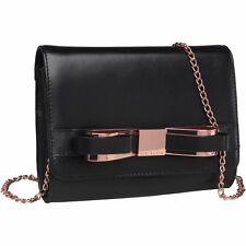 Genuine BNWT Ted Baker Women's Cross body Bow Clutch Bag Black 'RRP £99.99'