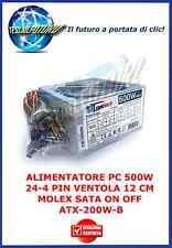 ALIMENTATORE PC 500W 24-4 PIN VENTOLA 12 CM MOLEX SATA ON OFF ATX-200W-B