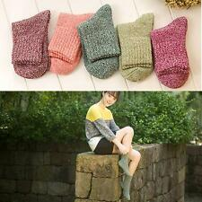 5 Pairs Women Lady Winter Wool Cashmere Warm Socks Soft Solid Thick Casual Socks