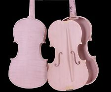 Unfinished Violin White Violin Unglued Flame Maple wood back spruce 4/4