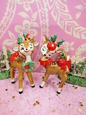 Vtg LEFTON Holly Berry Woodland Winking Reindeer SET OF 2 Gold Bell Red Bows