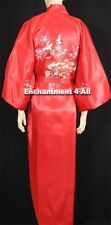 Embroidered Flying Crane Silk Satin Kimono Robe Sleepwear Long w/ Waist Tie, Red