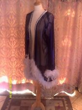 Drag Queen High fronted Purple shimmer coat with white feathers 20/22