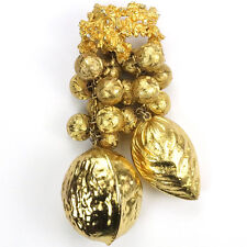 Miriam Haskell (unsigned) Golden Cascade of Pendant Assorted Nuts Pin