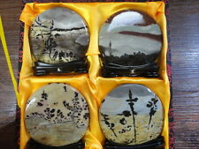 Rare Naturale art  China painting Guohua Suiseki Fancy  Stone 4Season Set Gift
