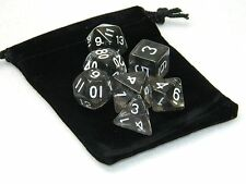 Wiz Dice 7 Die Polyhedral Set Drowskin Translucent Gray RPG Dice With Dice Bag
