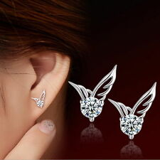 Fashion Women 925 Sterling Silver Angel Wings Crystal Ear Stud Earrings Jewelry