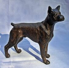 STANDING BOXER DOG ~  Cast Iron Doorstop Statue ~ Antiqued Brown