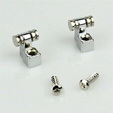 2 x ELECTRIC GUITAR CHROME ROLLER STRING RETAINERS MOUNTING TREE GUIDES - (500)