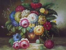 Clásico Bodegón flores grandes pintura al óleo lienzo Rosas en Jarrón Arte Original