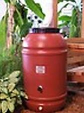 50 Gallon Screw on Lid 2 Band Terra Cotta Color Plastic Food Grade Rain Barrel