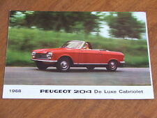 1968 Peugeot 204 Cabriolet and Coupe original 6 sided foldout brochure