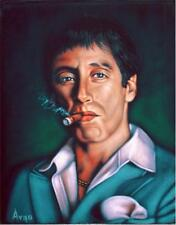 Tony Montana Scarface Al Pacino black velvet oil painting signed art