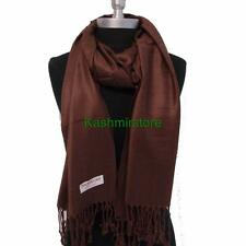 NEW Women Solid 100%Pashmina Wrap Stole Cashmere Shawl/Scarf Soft Dark Brown