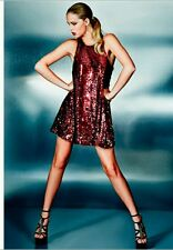 NEW GUESS RED SEQUINS SHIFT DRESS SIZE S