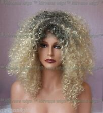 Dark Root mix with Golden Blonde Afro Spiral Curls Fizz Diana Ross Style Wig