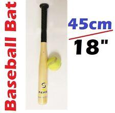 """45cm / 18"""" Wooden Rounders Baseball Bat & Free Soft Tennis Ball Garden Play Set"""