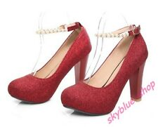 Ladies Mary Jane Party Dress Shoes Glitter Sequins Platform High Heel Shoes Size