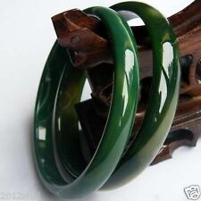 Beautiful 2pcs Green jade agate bangle bracelet 67~68mm +box