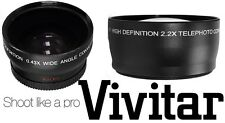 2PC LENS SET HI DEF WIDE ANGLE & TELEPHOTO LENS FOR CANON VIXIA HF S20 S21 S200
