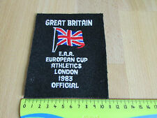 EUROPEAN Cup Athletics EAA 1983 LONDON GB Officials Original Sew on BLAZER Badge