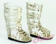 """Tall Gladiator Sandals GOLD shoes fits 18"""" American Girl Dolls"""