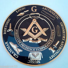 Freemason Masonic Love For Arts  Car Emblem Heavy Alloy Golden And Black Finish