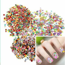 1000pcs 3D Fruit Animals Fimo Slice Clay Nail Art Tips Sticker Decoration DIY