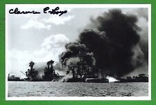 Clarence Lux WWII Pearl Harbor Survivor USS Tenn. Signed 4x6 B/W Photo E16276