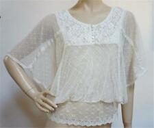 FREE PEOPLE Very Pretty Floral Laced Doily Flirty Kimono Sleeves Top Sz S / P