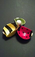 Colorful Fun Lady Bug, Bumble Bee, Green Bug Golf Clubs and Ball Candy/Nut Dish