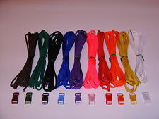 550 PARACORD SURVIVAL BRACELET KIT- 100 FT OF CORD-10 COLORS W/ COLORED BUCKLES