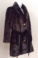 JUICY COUTURE FAUX FUR JACKET COAT WITH BELT BLACK EXCELLENT CONDITION SIZE M