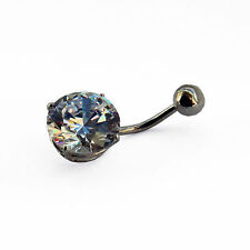 NEW 10mm Round White CZ and Solid Sterling Silver Body Belly Bar