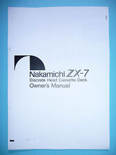 Owner's Manual-Manuale per Nakamichi zx-7