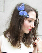 Grand Bleu Noir Plume Véritable Papillon Fascinator Barrette Rockabilly Vintage