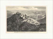 Schloß Bourscheid in den Luxemburger Ardennen H, Risle Ruine Holzstich E 9130