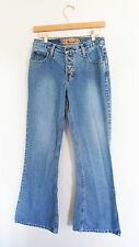 Vintage 90s Exposed Button High Waisted Rise Bell Bottoms Bootcut Denim Jeans 27