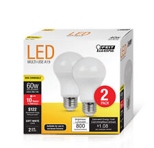 NEW! FEIT ELECTRIC LED Light Bulb 9 Watts A19 60-Watts Equivalency 2-Pack!