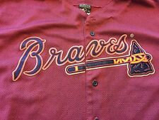Rare Mens Majestic Atlanta Braves Brick Red Baseball Jersey MLB Sz 2XL