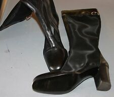 NEW Vintage Dolce & Gabbana Black Leather & Mesh Knee High Boots - size 7/37.5