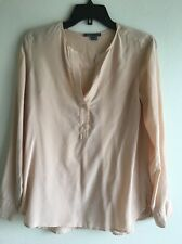 Vince Silk V Neck Blouse In Cream, Size 6