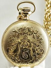 Vintage Waltham 7 jewel Grade Seaside Ornate case Pocket Watch with Chain + Box