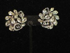 Vintage Crown Trifari Rhinestone Silver Tone Flower Earrings Silver Tone 1 ""
