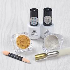 5pcs/set Mirror Glitter Powder Nail Art Pigment Base Coat Top Coat UV Gel Brush