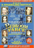 An 8 x 6 inch flyer for Bedroom Farce. Signed by Juliet Mills, Clare Wilkie + 4