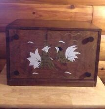 Vintage Antique Solid Wood Bread Box Dove Tail  Fighting Birds Japan