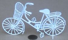 1:12 White Painted Ladies Shopping Bicycle & Basket Dolls House Bike Accessory
